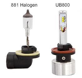 881 Halogen compared with UB800 bulb